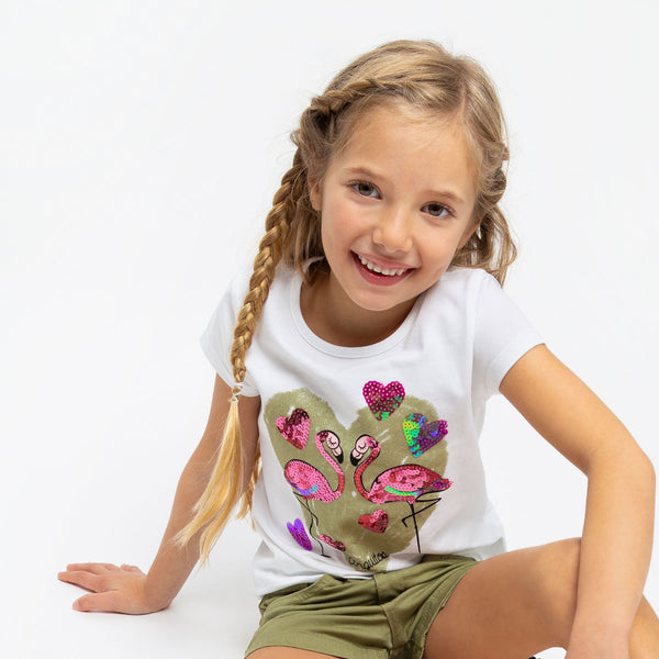 "Girl's ""Flamingo"" Sequins T-Shirt"