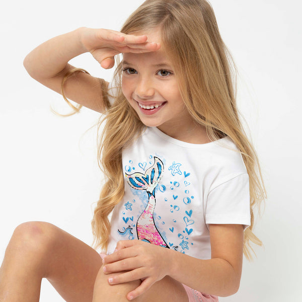 "Girl's ""Mermaid"" Reversible Sequins T-shirt"