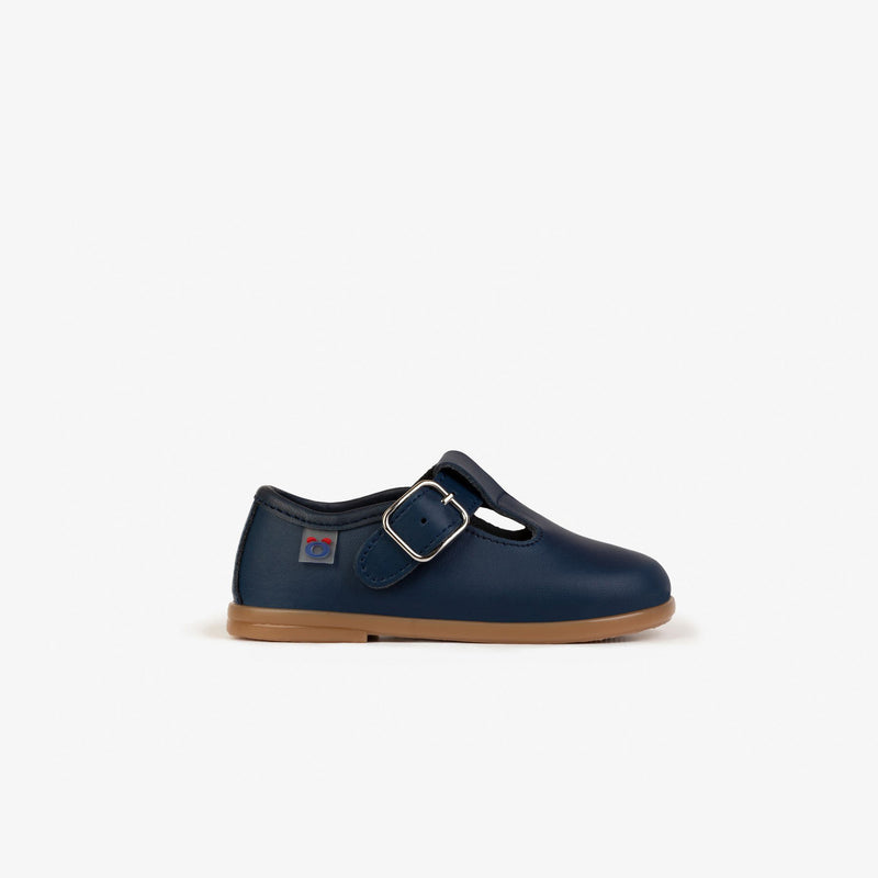 Baby's Navy Washable Leather Shoes
