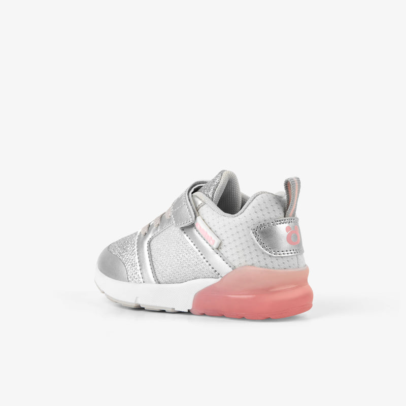Baby's Pink Grid Sneakers with Lights
