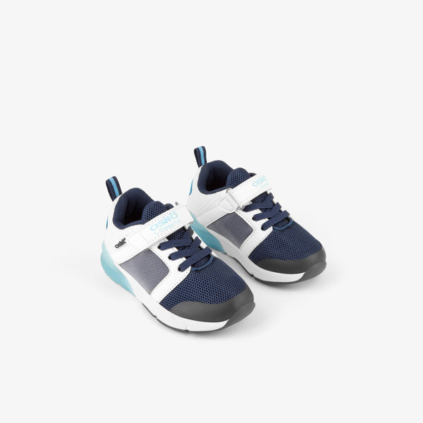 Baby's Navy Grid Sneakers with Lights
