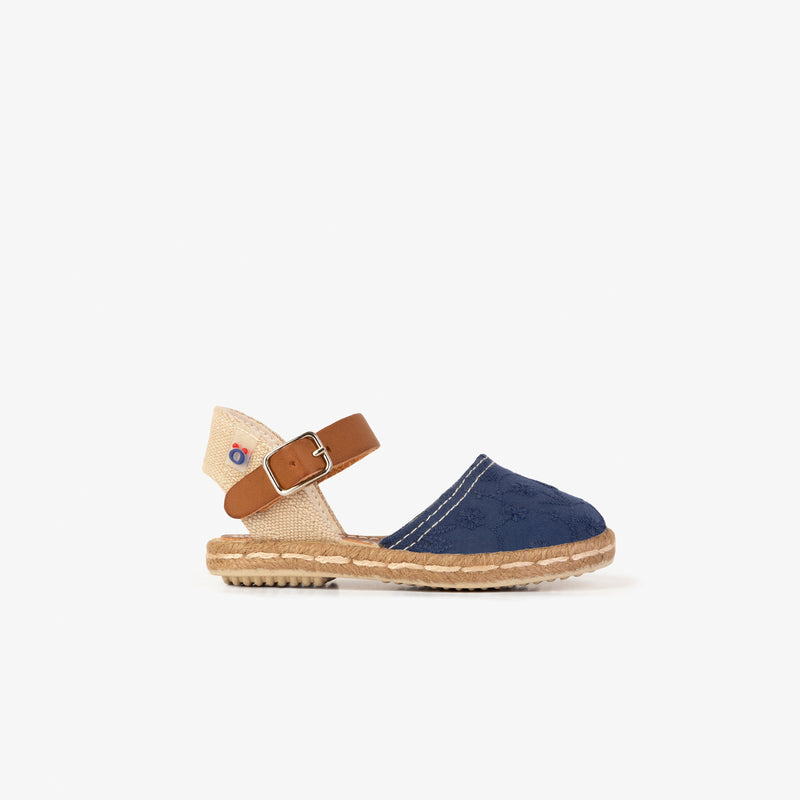 Baby's Navy Embroidery Espadrilles