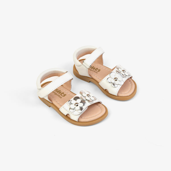 Baby's White Flowers Leather Sandals