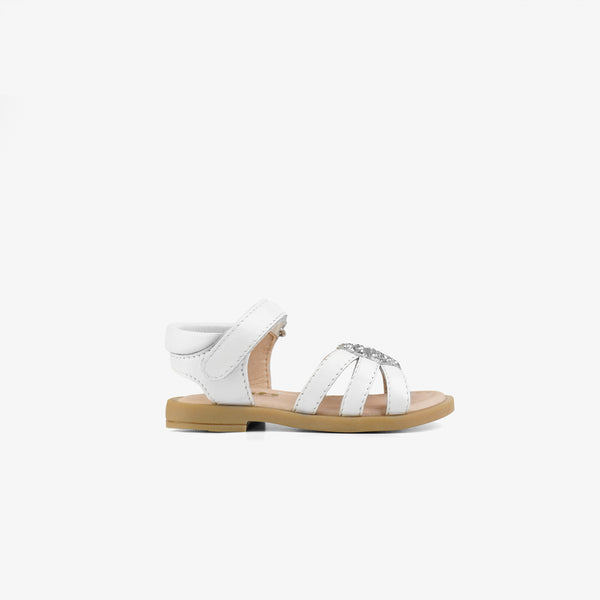 Baby's White Heart Leather Sandals