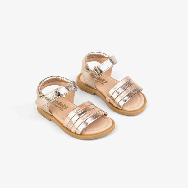 Baby's Platinum Leather Strips Sandals