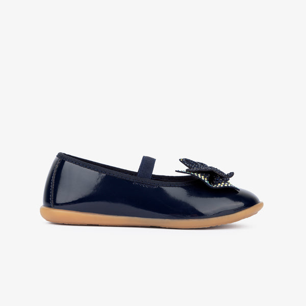 Girl's Navy Strass Bow Ballerinas