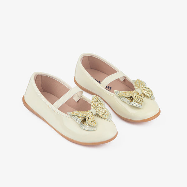 Girl's Beige Strass Bow Ballerinas