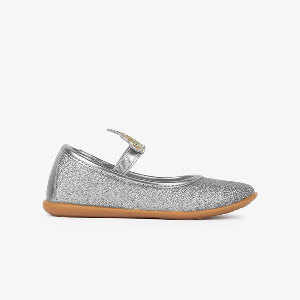 Girl's Silver Crown Ballerinas