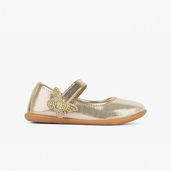 Girl's Butterfly Platinum Mary Janes