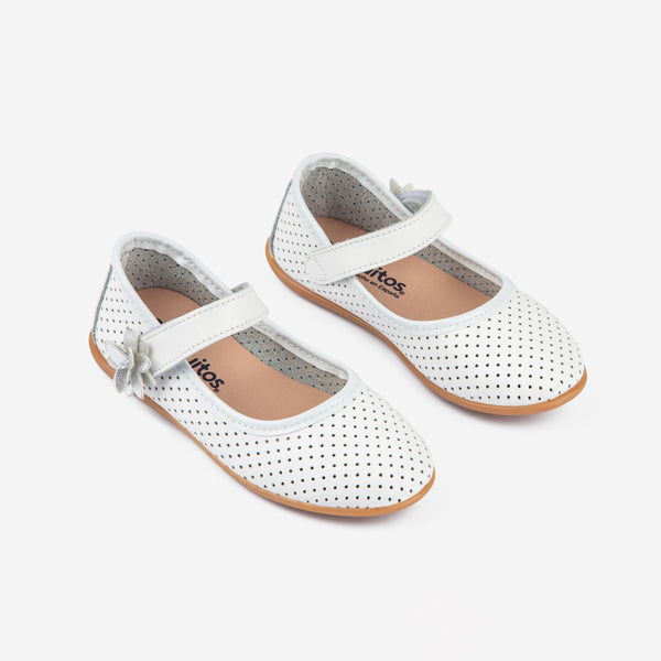 Girl's White Dots Washable Leather Mary Janes