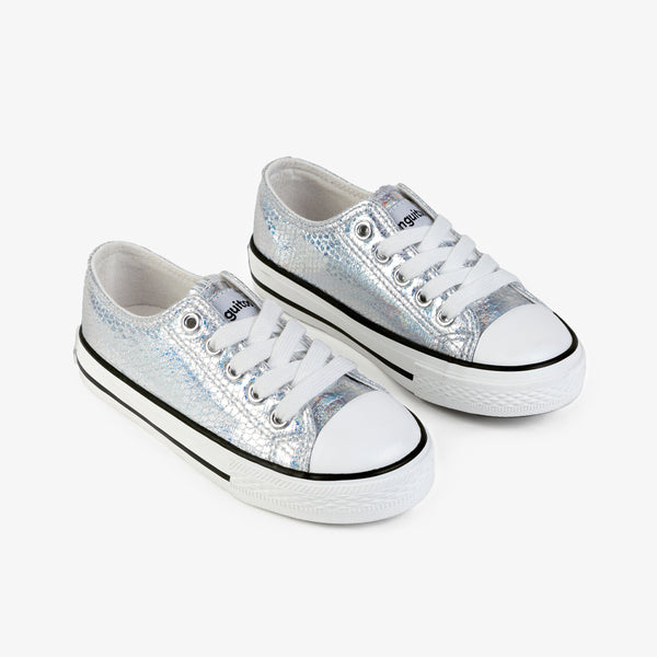 Girl's Silver Metallic Canvas Sneakers