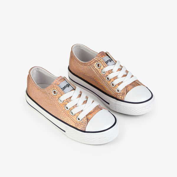 Girl's Magnesium Metallic Canvas Sneakers