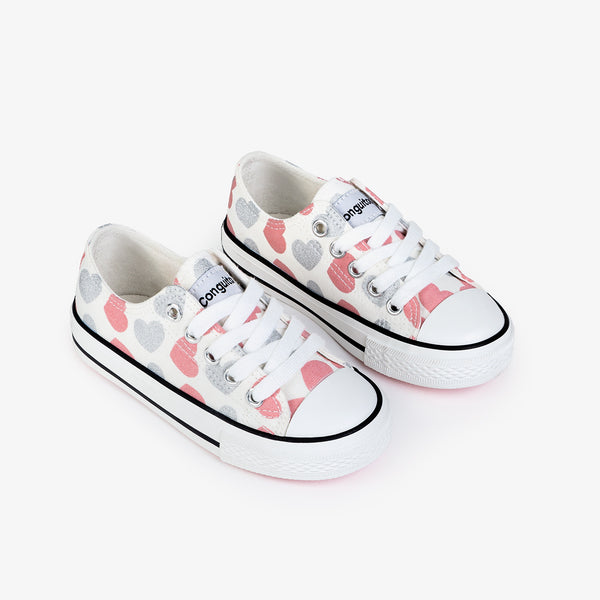 Girl's Hearts White Canvas Sneakers