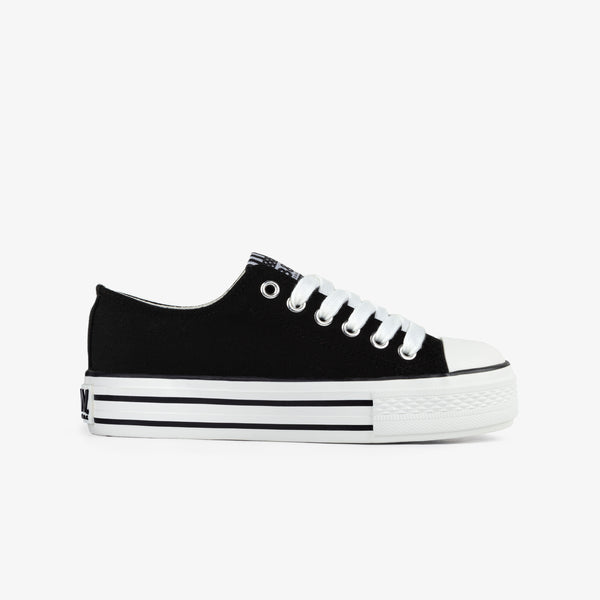 Girl's Black Platform Canvas Sneakers