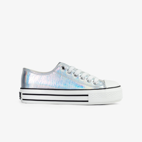 Girl's Silver Iridescent Canvas Sneakers