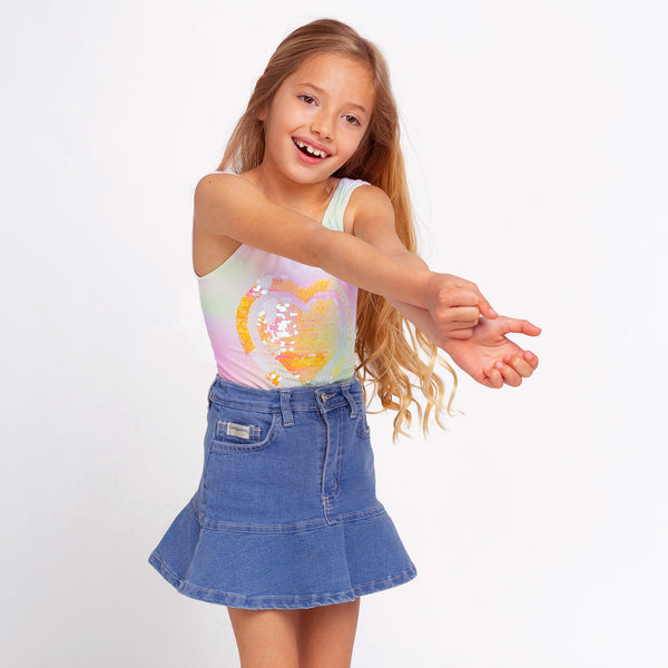Girl's Denim Ruffled Skirt