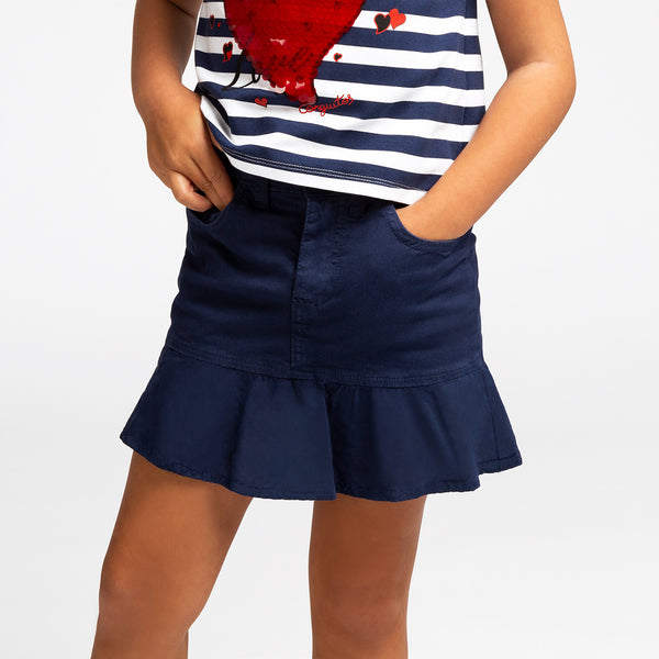 Girl's Navy Ruffled Skirt