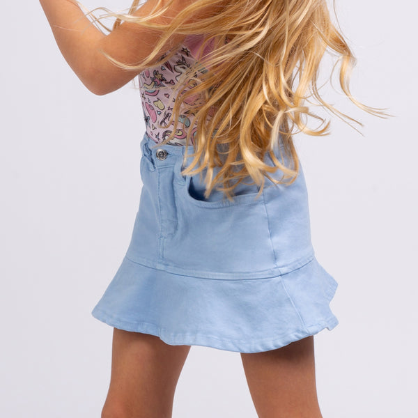 Girl's Light Blue Ruffled Skirt