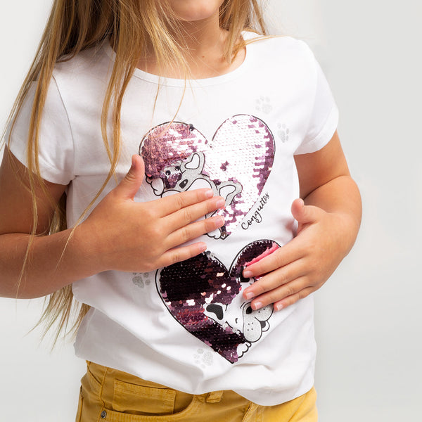 Girl's Puppies Reversible Sequins T-Shirt