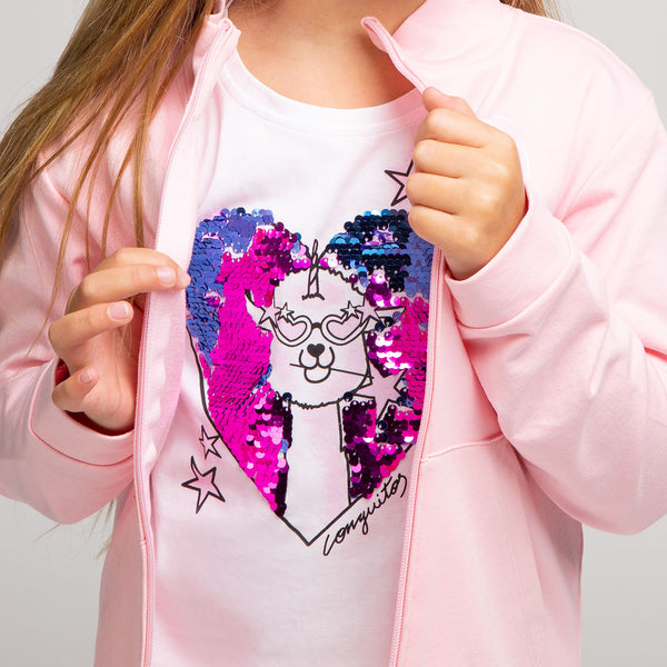 Girl's Alpaca Reversible Sequins T-Shirt