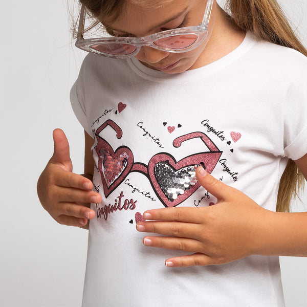 Girl's White Glasses-Heart T-Shirt
