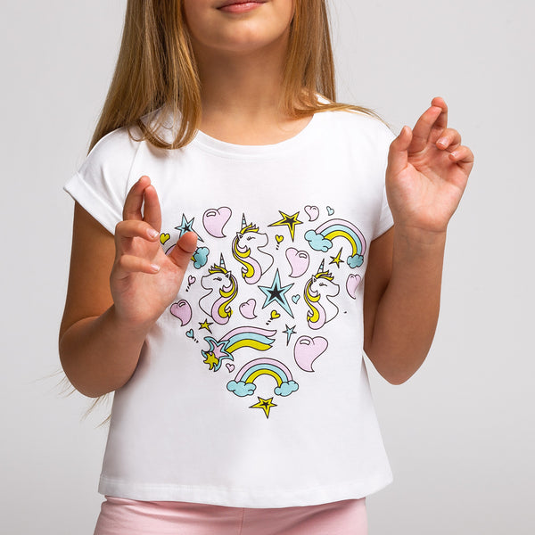 Girl's Unicorn Hearts T-Shirt