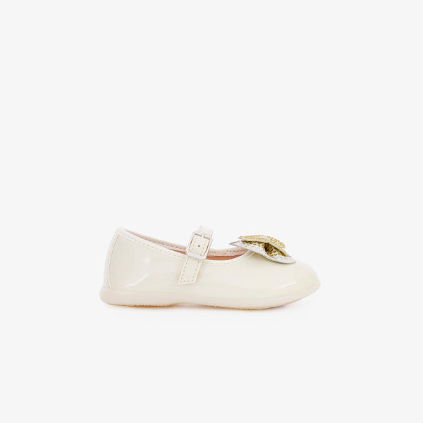 Baby's Beige Strass Bow Mary Janes