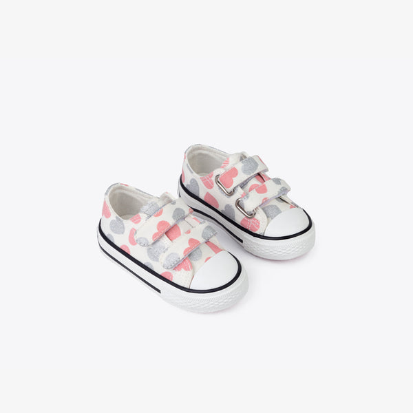Baby's Hearts White Canvas Sneakers