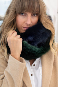 Faux fur snood navy & green