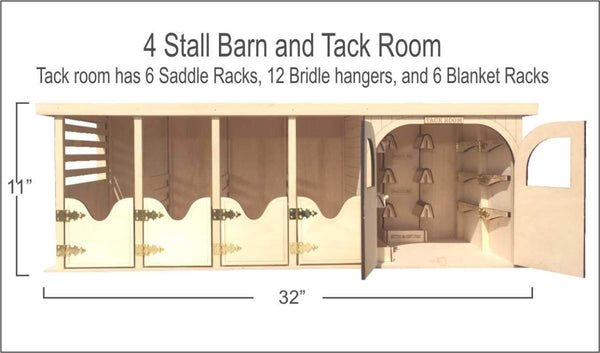 4 Stall Barn with attached Tack Room