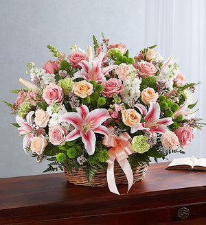 Amazing Grace Pastels Sympathy Basket Arrangement
