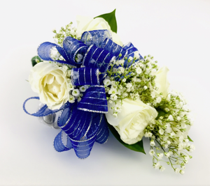 Blue Streak Corsage - White Mini Roses