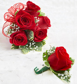 Classic Red Roses Corsage and Boutonniere