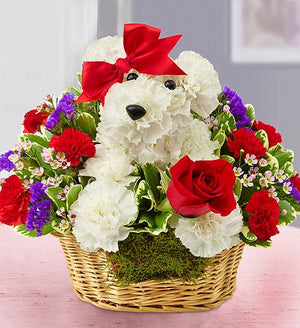 Cuddly Pup Basket Flowers
