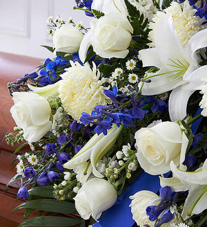 Funeral Half Casket Cover - Blue & White