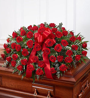Funeral Half Casket Cover - Red Roses