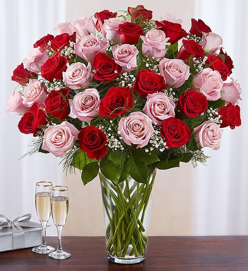 Lovely Embrace - Long Stem Red & Pink Roses