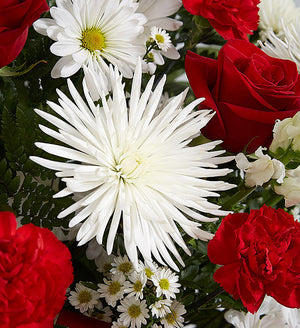 Sincere Remembrance Floor Basket - Red and White