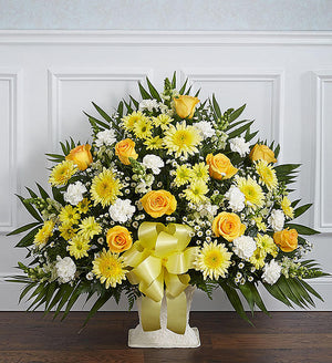 Sincere Remembrance Floor Basket - Yellow and White