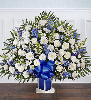 Sincere Remembrance Floor Basket - Blue and White