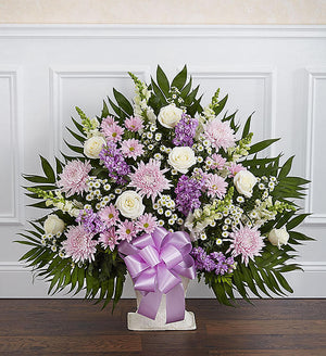 Sincere Remembrance Floor Basket - Lavender and White