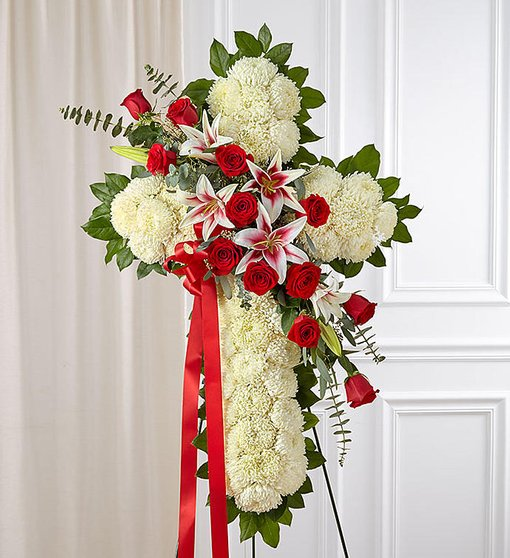Prayerful Tranquility Standing Cross - Red Roses & Lilies