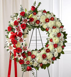 Prayerful Tranquility Standing Wreath - Red Roses & Lilies