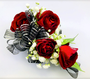 Hot Red Corsage - Red Roses