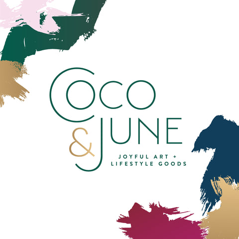 Coco and June, joyful art and lifestyle goods, logo with paint strokes