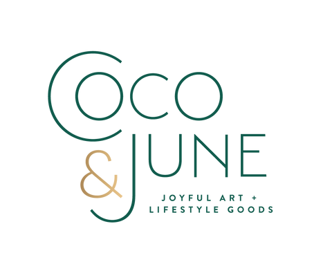 Coco and June, joyful art and lifestyle goods, logo, acrylic abstract artist, paint