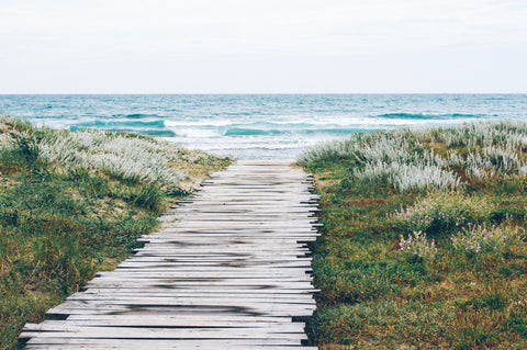 wooden path to ocean