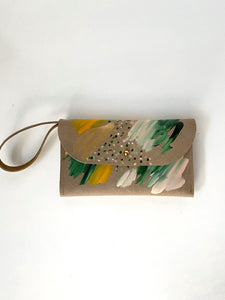 Cement leather clutch, peach, light green, dark green, mustard, metallic gold paint, abstract painting
