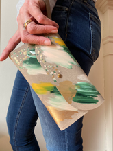 Load image into Gallery viewer, Cement leather clutch, peach, light green, dark green, mustard, metallic gold paint, abstract painting