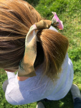 Load image into Gallery viewer, Abstract Canvas Ponytail Tie, hunter green, pink, gold, Emily Kurth artist